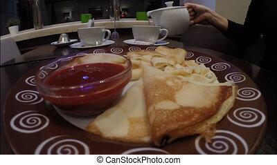 crêpes, girl, j, mange, framboise