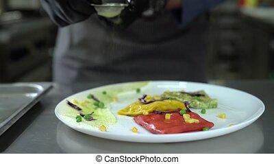 crêpes, kitchen., chef cuistot, par, arrosage, crible, restaurant's