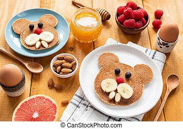 crêpes, nourriture, petit déjeuner, gosses, art
