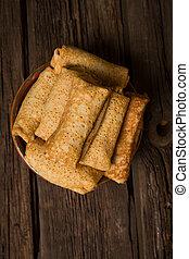 crêpes, petite maison, remplissage, fromage