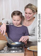 crêpes, peu, femme, cuisine, girl