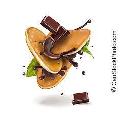 crêpes, vecteur, chocolat, illustration, 2!!!!