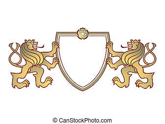 crête, couple, lions