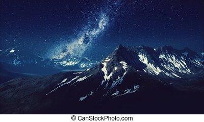 crêtes, montagne, voie lactée, sur
