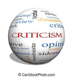 crítica, 3d, esfera, palabra, nube, concepto