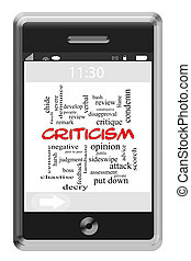 crítica, palavra, nuvem, conceito, ligado, touchscreen, telefone