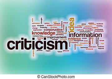 crítica, resumen, palabra, nube, plano de fondo