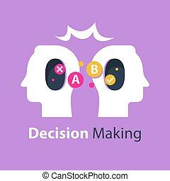 crítico, fazer, psicologia, conceito, comunicação, pensando, decisão, escolha