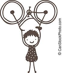 crítico, masa, bicicleta, levantamiento