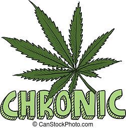 crônico, esboço, marijuana