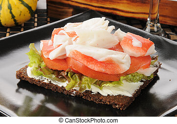 Crab and tomato with pumpernickel bread - pumpernickel bread...