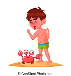 Crab Bit The Finger Of Crying Boy Vector. Isolated Illustration