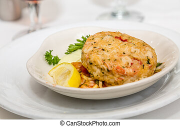 Crab Cake with Lemon Wedge