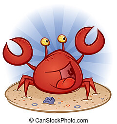 A happy smiling crab character in the sand on a tropical beach