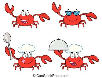Crab Cartoon Character Set 1. Vector Collection