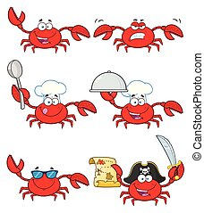 Crab Cartoon Character Set 3. Vector Collection