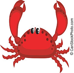 Cartoon of the red crab ,isolated.