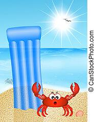 crab cartoon on the beach