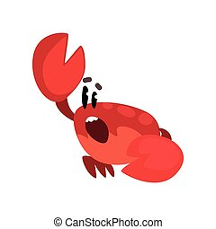 Crab character shouting, cute sea creature with funny face vector Illustration on a white background