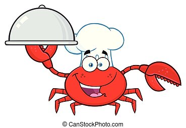 Crab Chef Cartoon Mascot Character Holding A Platter