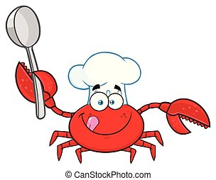 Crab Chef Cartoon Mascot Character Holding A Spoon