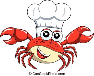 Crab chef cook hat mascot isolated