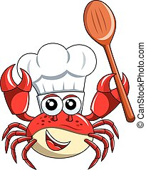 Crab chef mascot empty wooden spoon isolated