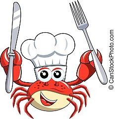 Crab chef mascot holding fork knife isolated