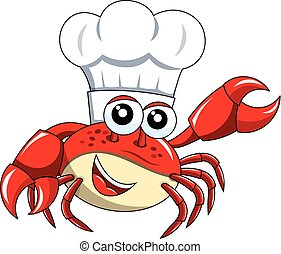 Crab chef mascot presenting isolated