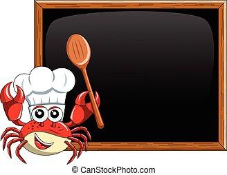 Crab chef mascot presenting  teaching  blank blackboard chalkboard isolated