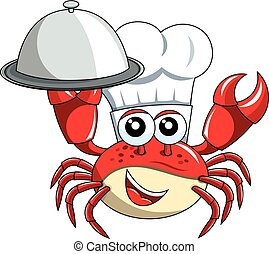 Crab chef mascot serving tray isolated