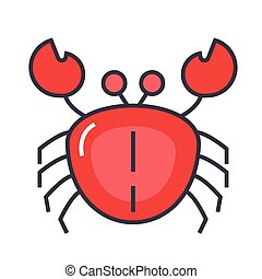 Crab concept. Line vector icon. Editable stroke. Flat linear illustration isolated on white background