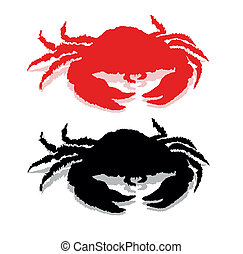 Crab    - Crab silhouette. Vector eps8