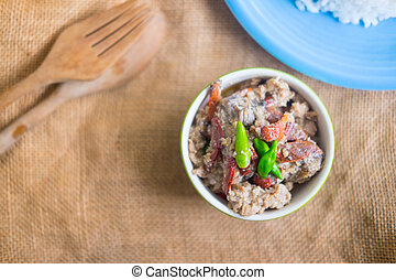 Crab dip with coconut milk and vegetables