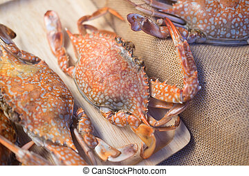 Crab grill seafood