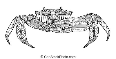 Crab hand drawn sea animal. Coloring book for adults. Vector illustration.
