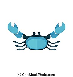 Crab icon flat design blue