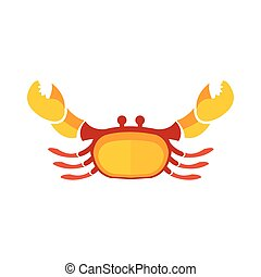 Crab icon flat design yellow