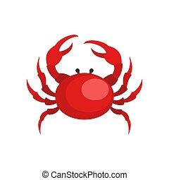 Crab icon, flat style