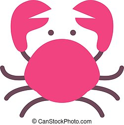 crab icon , flat style red crab isolated on white