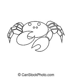 Crab icon, outline style
