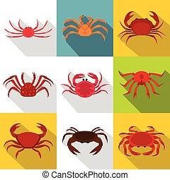 Crab icon set, flat style