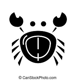 crab icon, vector illustration, black sign on isolated background