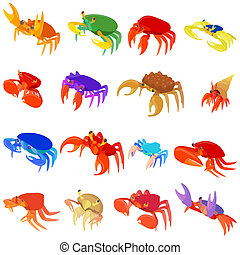 Crab icons set, cartoon style