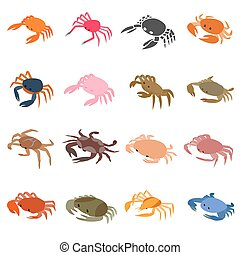 Crab icons set, isometric 3d style