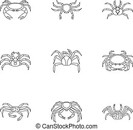 Crab icons set, outline style - Crab icons set. Outline set...