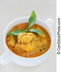 Crab meat curry soup