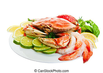 Crab platter - Platter of crab and lobster tails, shrimp, ...