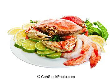 Crab platter - Platter of crab and lobster tails,shrimp,...