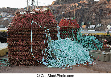 Carb pots ready to be loaded onto fishing boats at the start of the carb fiahery in Newfoundland and Labrador, Canada.